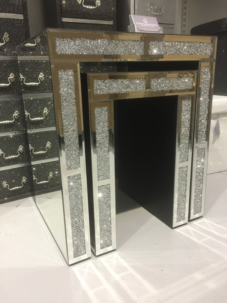 Stunning crushed diamond and mirror nest of 2 tables  The