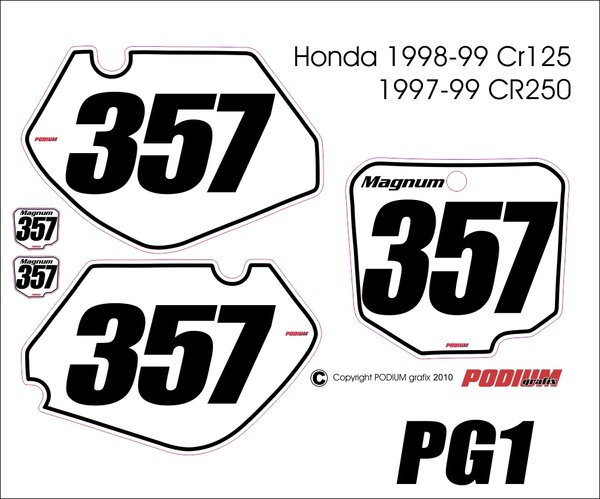 Honda 1998-1999 CR125 and 1997-1999 CR250 PG1 Numberplate