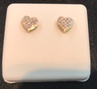 10kt yellow gold heart screw back earring