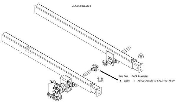 Barker Slide Out Adjustable Shaft Adapter Assembly 27090