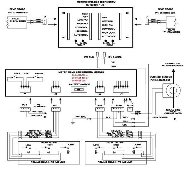 fleetwood motorhome wiring diagram rv trailer hitch intellitec dual thermostat a/c & heat, single furnace model, 00-00597-100   pdxrvwholesale