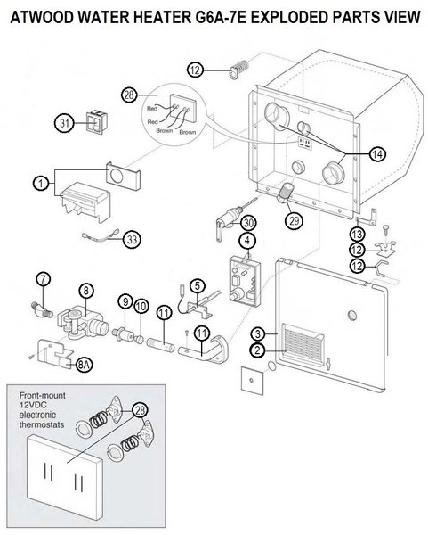 atwood rv furnace parts diagram 1993 volvo 940 wiring twood water heater model g6a-7e | pdxrvwholesale