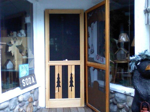 pine tree cut out screen door 32 36wood wooden  Otter