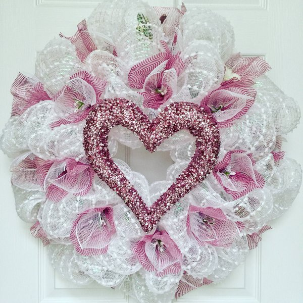 Bridal Or Valentines Day Wreath With Pink Pearl Heart Tulle And Flowers Deco Mesh  What A Mesh