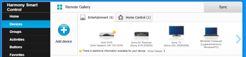Harmony remote devices screen