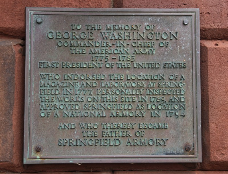 Plaque commemorating Washington at the Armory