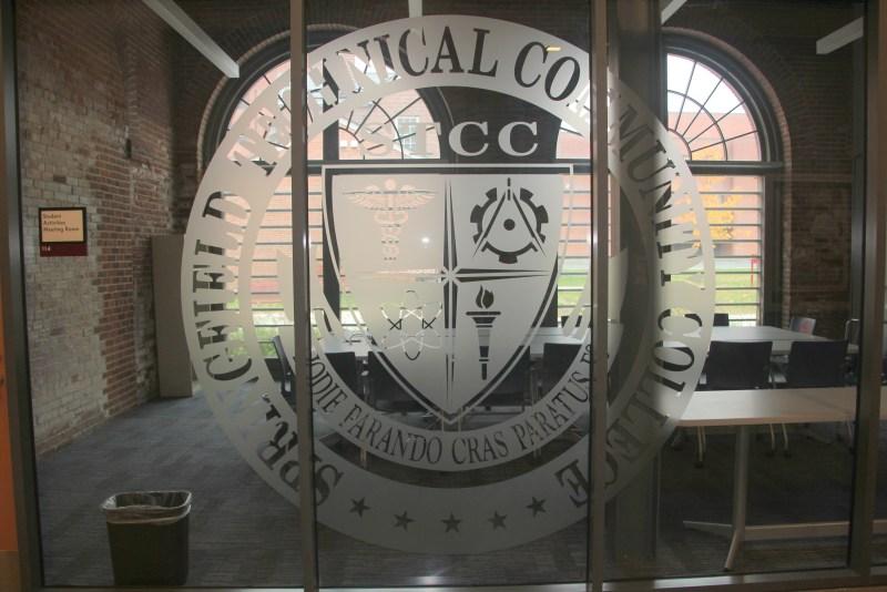 STCC logo imprinted on glass
