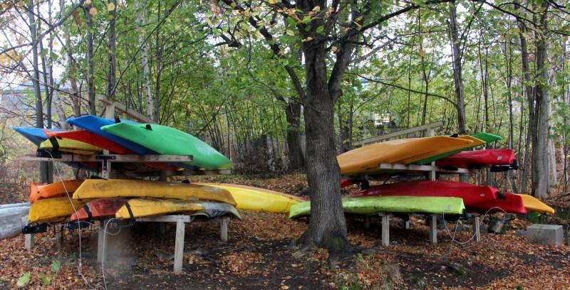 canoes on COA's pier