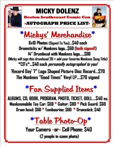 Micky Dolenz Autograph and Photo Op Prices