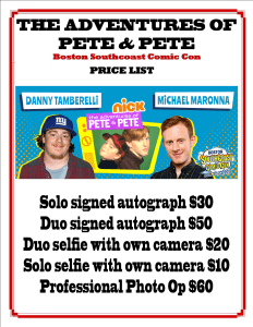 Pete & Pete Price List - Boston Southcoast Comic Con July 2017