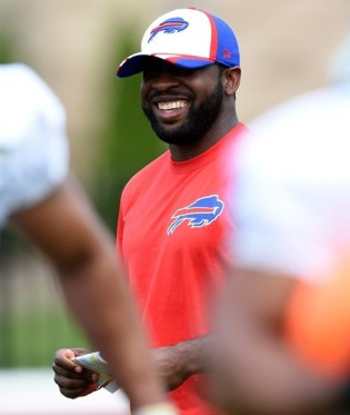 Russ, the current running backs coach at RMU, spends some time at Buffalo Bills' Training Camp in July 2014 (photo courtesy of Buffalo Bills)