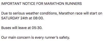 Maratondistansen ble flyttet fra fredag til lørdag 📷: Arrangøren