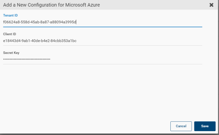 Machine generated alternative text: Add a New Configuration for Microsoft Azure