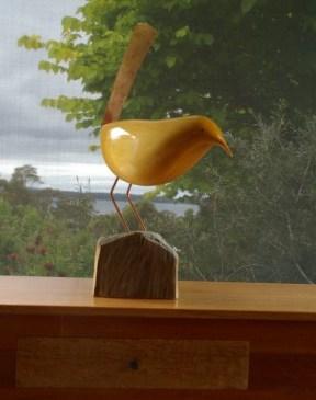 Wren huon pine bird sculpture