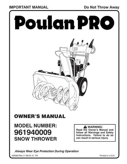 Poulan 961940009- Need An Owners Manual