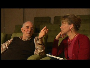 Writer/Director Ingmar Bergman with journalist Marie Nyreröd