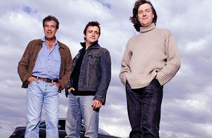 Top Gear UK hosts Jeremy Clarkson, Richard Hammond and James May.