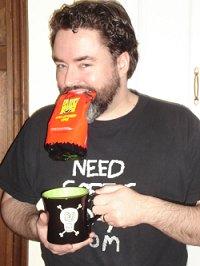 Widgett gnawing on shock coffee
