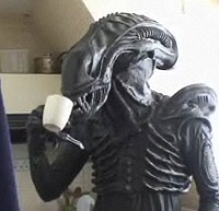 Gareth Ellner, the Alien, having some coffee