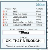 Energy Fiend caffeine calculator