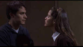 Gael García Bernal as Padre Amaro and Ana Claudia Talancón as Amelia in The Crime of Padre Amaro