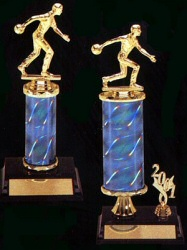 Two bowling trophies
