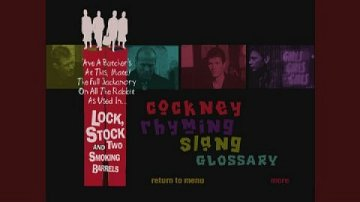 Lock Stock and Two Smoking Barrels DVD slang glossary