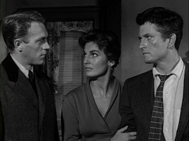 Steve McQueen, Lita Milan, and John Drew Barrymore in Never Love A Stranger