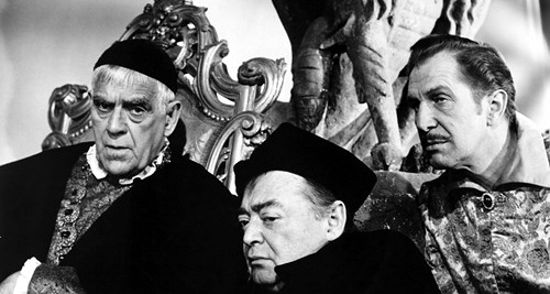 Boris Karloff, Peter Lorre and Vincent Price from The Raven