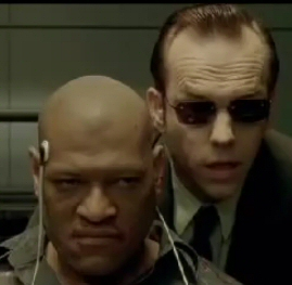 Laurence Fishburne and Hugo Weaving in The Matrix