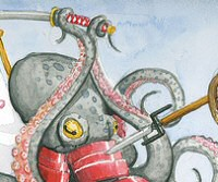 Octopus vs. Squid, a watercolor by Phineas X. Jones