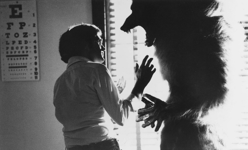 Joe Dante on the set of The Howling