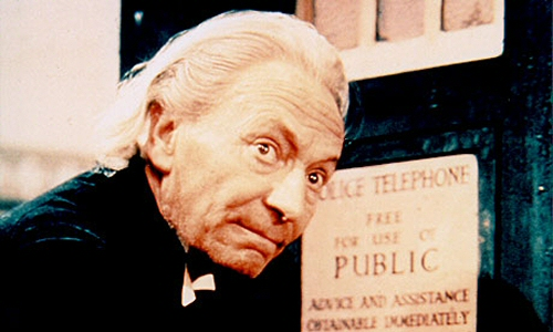 William Hartnell as The First Doctor from Doctor Who, in front of the TARDIS