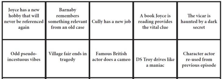 Midsomer Murders Bingo Sample