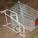 Overturned shopping cart