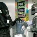 Alien and Boba Fett at the water cooler of the J. Hasbien Talent Agency