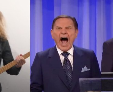 Kenneth Copeland rawking out with Andre Antunes