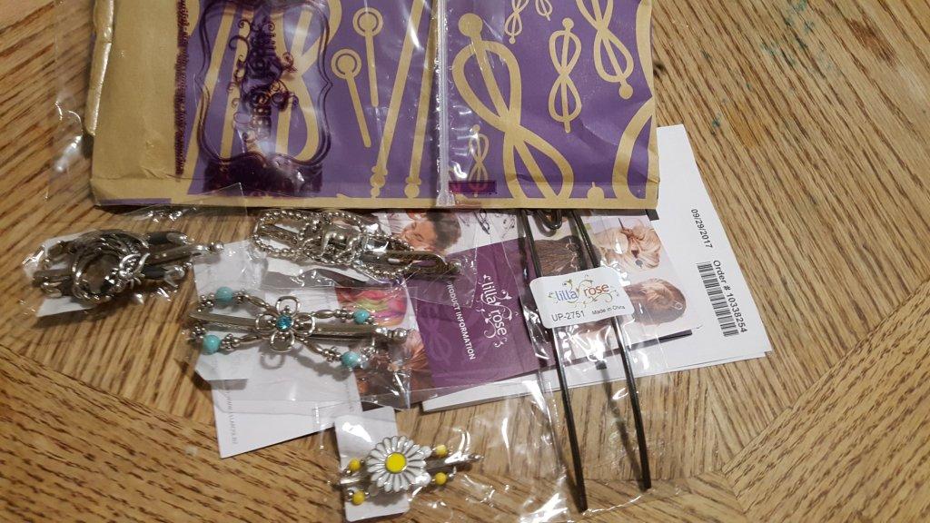 Lilla Rose package dragon horse flower teal flexi clip fox hair accessories