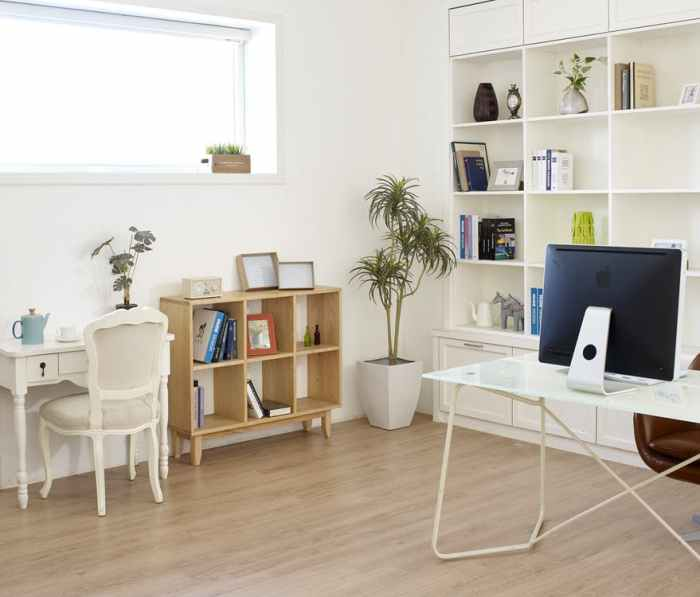 den desk chair bookshelf books monitor wood floors window Reinventing Your Home's Design