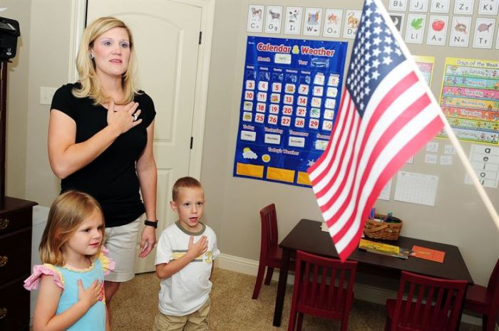 teacher with children saying the pledge of allegiance school