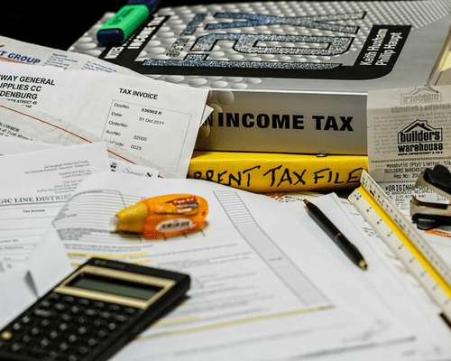 receipts calculator tax income tax books invoices preparing for taxes with storage auction resale business