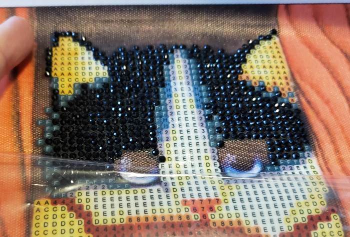 Diamond painting tutorial peel the clear plastic cover downward cat image with rhinestones top of canvas