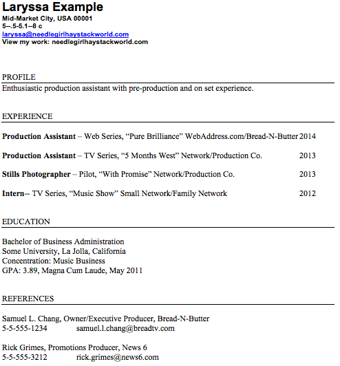 Production Assistant Resume Format |