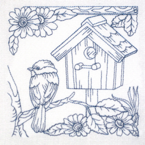 Birdhouse Bird Redwork Colorline Bluework Kitchen Nature