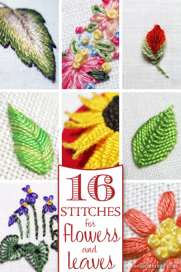 Hand Embroidery Stitches : embroidery, stitches, Tutorials, Embroidered, Leaves, Flowers, NeedlenThread.com