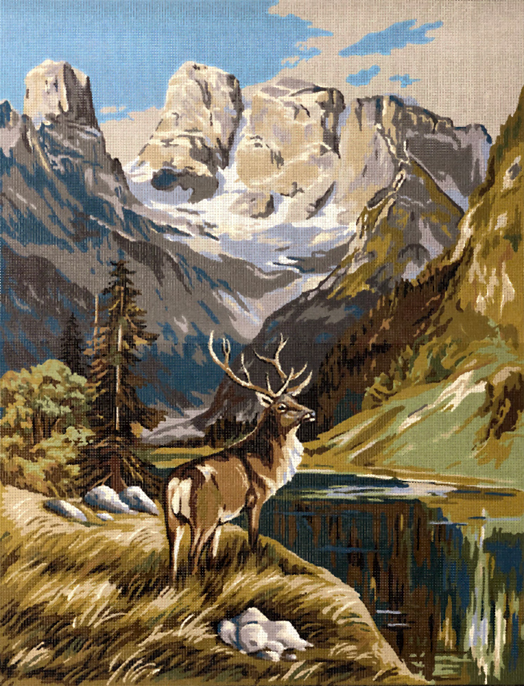 Famous Deer Paintings : famous, paintings, NeedlepointUS:, Margot, Creations, Paris, Needlepoint, Mountain, Large, Canvas,, Famous, Paintings,, M143-2281