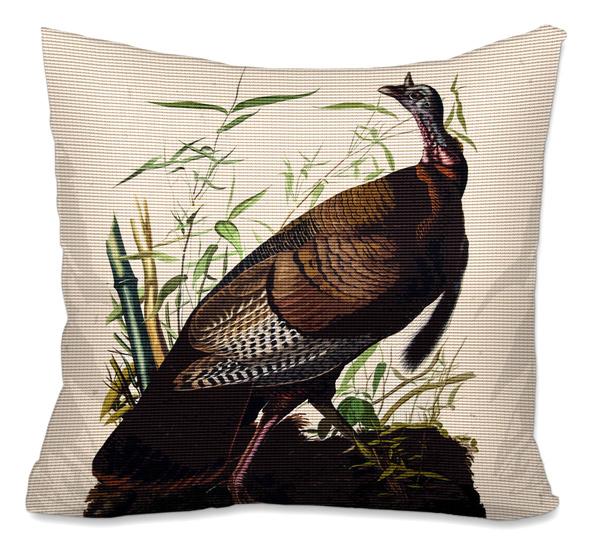 wild turkey needlepoint cushion canvas or kit