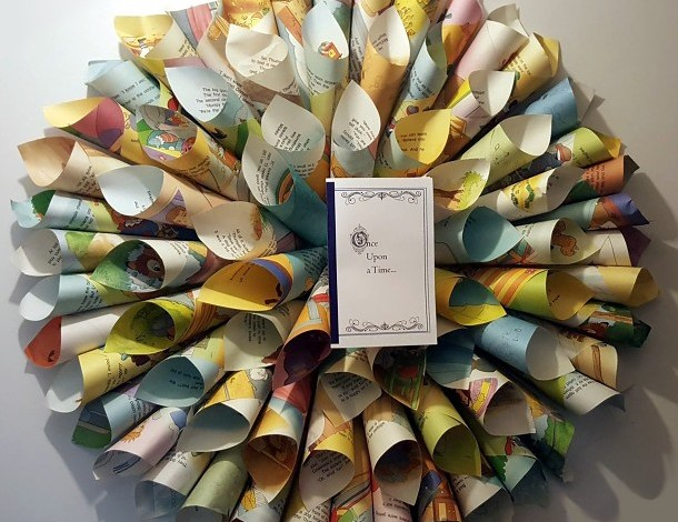 Book page paper cone wreath for library themed baby shower