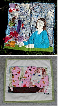 Photos and self-portrait quilts by Bev Laing and Jennifer Ackerman-Haywood