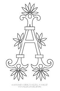 New free monogram alphabet: Fan Flowers
